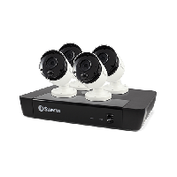 Swann 4 Camera 8 Channel 5MP Super HD NVR Security System, True Detect, White, Bullet Cameras, Audio
