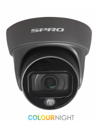SPRO DHD50/28LG/20M-4-M - 5MP, 2.8MM,FULL COLOUR NIGHT TURRET, 4 IN 1, AUDIO BUILT IN, 20M SMART LED, GREY