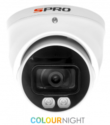 SPRO DHD50/28LW/40M-4-M - 5MP, 2.8MM,FULL COLOUR NIGHT TURRET, 4 IN 1, AUDIO BUILT IN, 40M SMART LED, WHITE