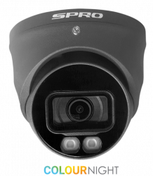 SPRO DHD50/28LG/40M-4-M - 5MP, 2.8MM,FULL COLOUR NIGHT TURRET, 4 IN 1, AUDIO BUILT IN, 40M SMART LED, GREY