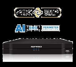 SPRO DHIPNVR08-A4 - 8 CH 8MP 4K NVR, NO HDD, 8X POE, AI-PRO