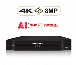 SPRO DHDVR12-B6 8 Channels 5in1 8MP DVR, Tripwire, Intrusion, Smart Motion Detection, Face detection, Audio over coax, AI