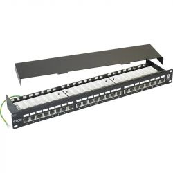 Excel Category 6 Screened Right Angle Patch Panel 24 Port 1U - Black