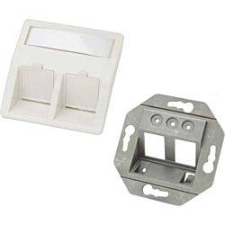 Excel Angled 2 Port Keystone 50mm x 50mm Faceplate - RAL9010 - Pure White