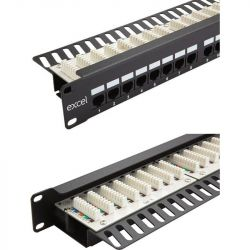 Excel Category 6 (UTP) Unscreened Right Angle Patch Panel 24 Port 1U - Black