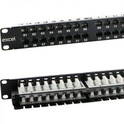 Excel Category 6 (UTP) Unscreened Right Angle Patch Panel 48 Port 1U - Black