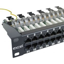Excel 1U 3 Pair VoIce RJ45 Patch Panel - 50 Port - Black