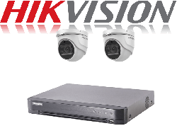 HikVision Turbo HD up to 5MP 4Ch Audio Kit with 2 x 5 MP 40m IR Hikvision Audio Dome