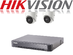 HikVision Turbo HD up to 5MP 4Ch Audio Kit with 2 x 5 MP 30m IR Hikvision Audio Dome