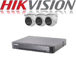 HikVision Turbo HD up to 5MP 4Ch Audio Kit with 3 x 5 MP 40m IR Hikvision Audio Dome