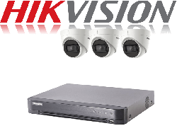 HikVision Turbo HD up to 5MP 4Ch Audio Kit with 3 x 5 MP 30m IR Hikvision Audio Dome