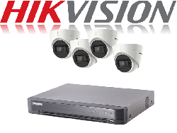 HikVision Turbo HD up to 5MP 4Ch Audio Kit with 4 x 5 MP 30m IR Hikvision Audio Dome