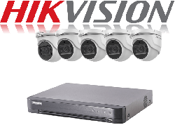 HikVision Turbo HD up to 5MP 8Ch Audio Kit with 5 x 5 MP 40m IR Hikvision Audio Dome