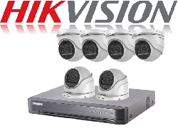 HikVision Turbo HD up to 5MP 8Ch Audio Kit with 6 x 5 MP 40m IR Hikvision Audio Dome