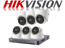HikVision Turbo HD up to 5MP 8Ch Audio Kit with 6 x 5 MP 30m IR Hikvision Audio Dome