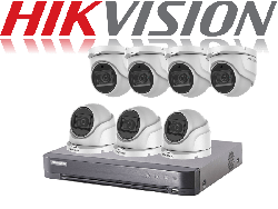 HikVision Turbo HD up to 5MP 8Ch Audio Kit with 7 x 5 MP 40m IR Hikvision Audio Dome