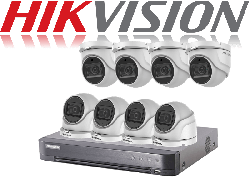 HikVision Turbo HD up to 5MP 8Ch Audio Kit with 8 x 5 MP 40m IR Hikvision Audio Dome