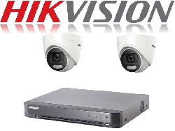 HikVision Turbo HD up to 8MP 4K 4Ch Kit with 2 x 5 MP 20m IR Hikvision ColorVu Dome