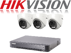 HikVision Turbo HD up to 8MP 4K 4Ch Kit with 3 x 5 MP 20m IR Hikvision ColorVu Dome