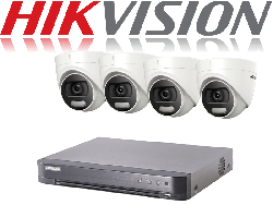 HikVision Turbo HD up to 8MP 4K 4Ch Kit with 4 x 5 MP 20m IR Hikvision ColorVu Dome