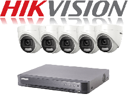 HikVision Turbo HD up to 8MP 4K 8Ch Kit with 5 x 5 MP 20m IR Hikvision ColorVu Dome
