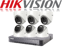 HikVision Turbo HD up to 8MP 4K 8Ch Kit with 6 x 5 MP 20m IR Hikvision ColorVu Dome