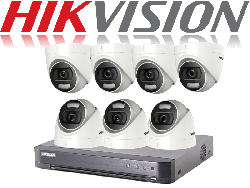 HikVision Turbo HD up to 8MP 4K 8Ch Kit with 7 x 5 MP 20m IR Hikvision ColorVu Dome