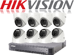 HikVision Turbo HD up to 8MP 4K 8Ch Kit with 8 x 5 MP 20m IR Hikvision ColorVu Dome