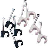 Excel White Round Cable Clip - Suits 5 to 7mm Cable dia
